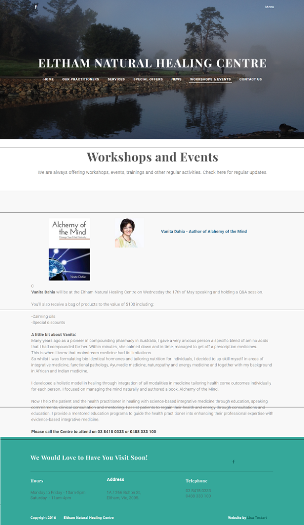 Eltham Natural Healing Centre Alchemy of the Mind Workshop